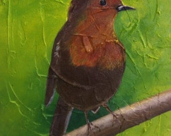 Chirp, original acrylic painting on canvas board.