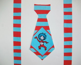 DIY No-Sew Dr Seuss Thing 1 Fabric Tie & Suspenders Applique - Iron On