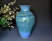 Tall Large Pottery Flower Vase Cerulean Blue B