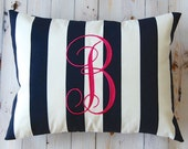 Monogrammed Pillow Navy Blue Stripe Personalized Home Decor Throw Pillow Cover 12 x 16 Beach Decor Dorm Decor Nautical Decor