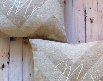 Wedding Pillow - Mr. and Mrs. Pillow - Monogram Pillow - Wedding Decoration - 12 x 16 - Set of Two