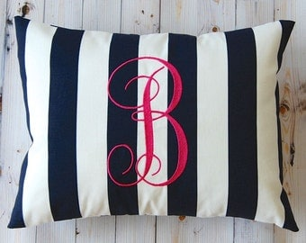Monogrammed Pillow Navy Blue Stripe Personalized Home Decor Throw Pillow Cover 12 x 16 Beach Decor Dorm Decor Nautical Decor