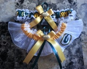 NFL Green Bay Packers white organza Wedding Garter set any size color or style.