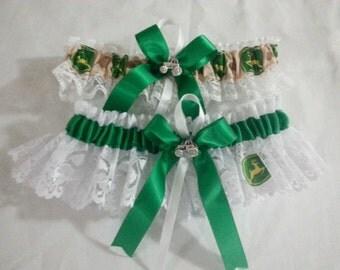 New Wedding Garter set Handmade with John Deere fabric and white lace.