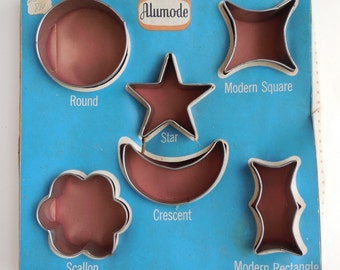 1960s Stainless Steel Cookie Cutters Geometric Shapes, Round  / Square / Star / Crescent / Scallop / Modern Square / Modern Rectangle