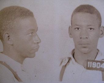 1940 MUG SHOT Allegheny County  Pa Police Criminal 18 Year Old Slim Man