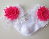 Vintage Shabby Chic Lace Socks with Roses & Pearls
