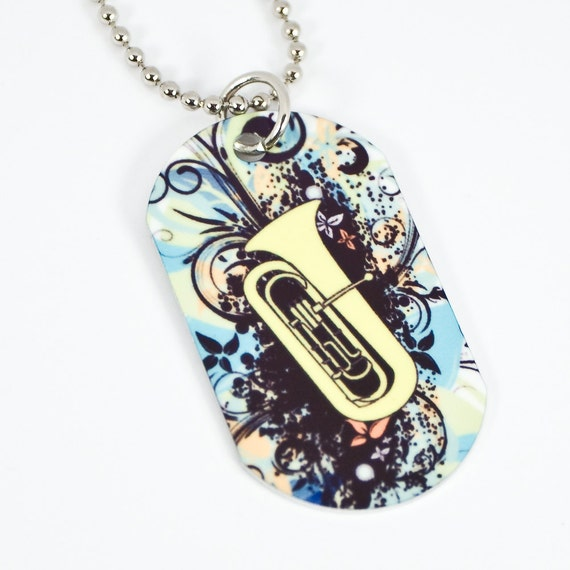 Items similar to Tuba Dog Tag Necklace for Band Geeks on Etsy