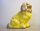 Vintage Chalkware Spaniel Figurine Kitsch Dog Neon Yellow