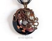 OOAK autumn multi colour fused glass wire wrapped donut pendant