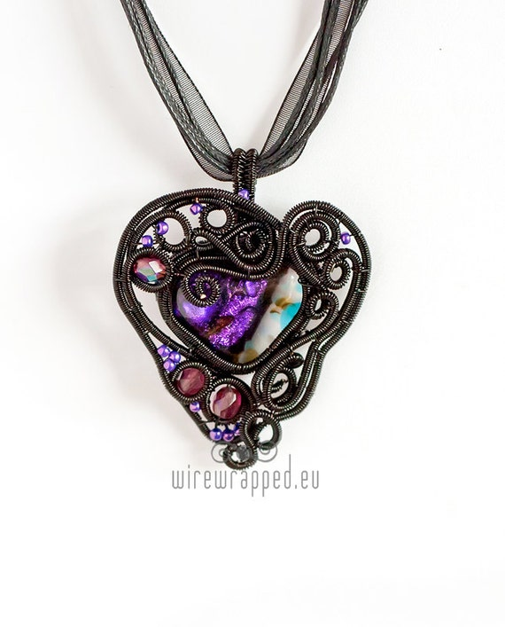 OOAK Black and purple dichroic glass gothic heart pendant