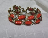 Vintage Orange slices thermoset and pearl flowers bracelet
