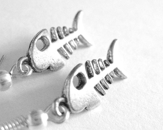 Fishbone earrings sterling silver fish bone jewelry fish for Fish bone earrings