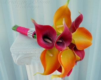 Beach bouquet, Hot pink and orange Bridesmaid bouquet, Real touch calla lilies