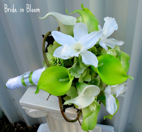 Bridal bouquet Wedding bouquet lime green white calla lily orchid silk wedding flowers
