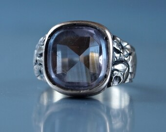 Czech Art Nouveau Ring Gold Amethyst Crystal or Paste Stone Size 8 Floral Repousse