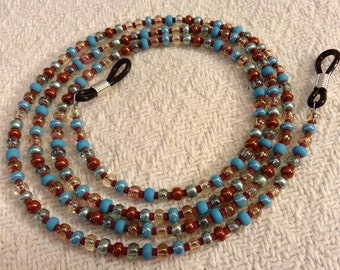 Turquoise Blue, Brown, Clear, Brick Red Seed Bead Lanyard or Eye Glass Holder