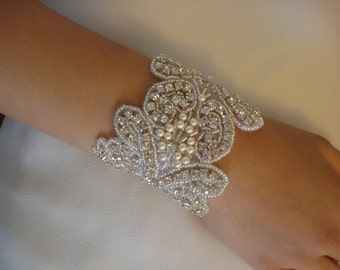 Bridal Rhinestone Bracelet with Swarovski Pearls Attached to Pure Silk Ribbon in Ivory or White - Ships in 1 Week