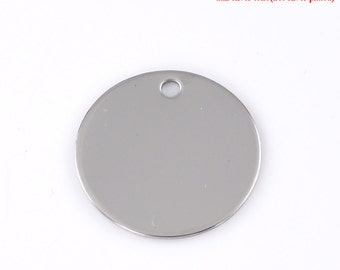 10pc Stainless Steel 30mm Round Blank Stamping Disc - Hand Stamp Jewelry Supplies
