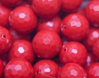 Bulk 100ct Red Faceted Solid Golf Ball Chunky Beads - 20mm Beads - Bubblegum Beads, Resin Beads, Chunky Necklace Supplies, Wholesale