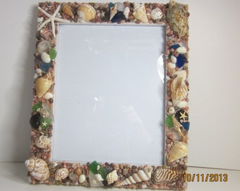 Beach decor seashells sea glass frame coastal