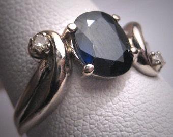 Vintage Sapphire Diamond Wedding Ring Retro Art Deco White Gold Engagement