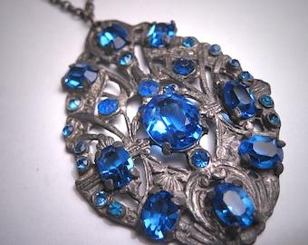 Antique Sapphire Paste Necklace Victorian Art Deco 1920