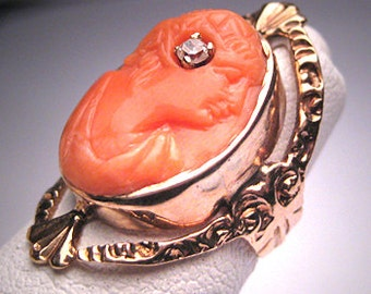 Antique Coral Cameo Diamond Ring Victorian Gold c.1890