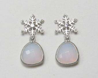 Snowflake Earrings | Silver Snowflake Earrings | Opal Snowflake Earrings | Winter Wedding | Winter Earrings | Holiday Earrings