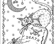 Instant Download Halloween Coloring pages Art to Color