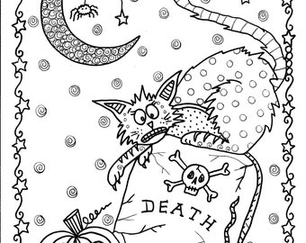 Instant Download Halloween Coloring pages Art to Color/digital/digi stamp/witch/cat/moon/fall