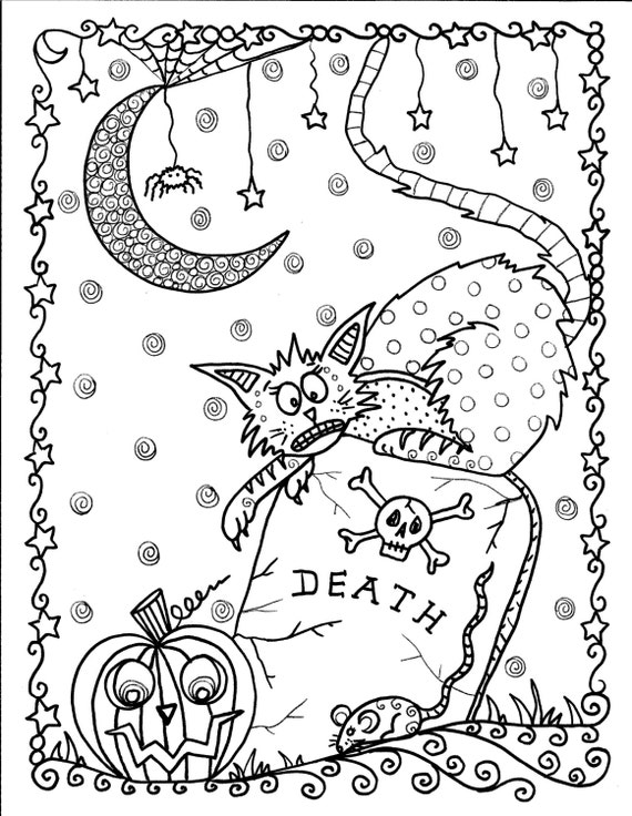Instant download halloween coloring pages art to for Halloween coloring pages for adults printables