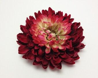 Silk Flowers - One Jumbo FUCHSIA BURGUNDY Mum - 5.5 Inches - Artificial Flowers