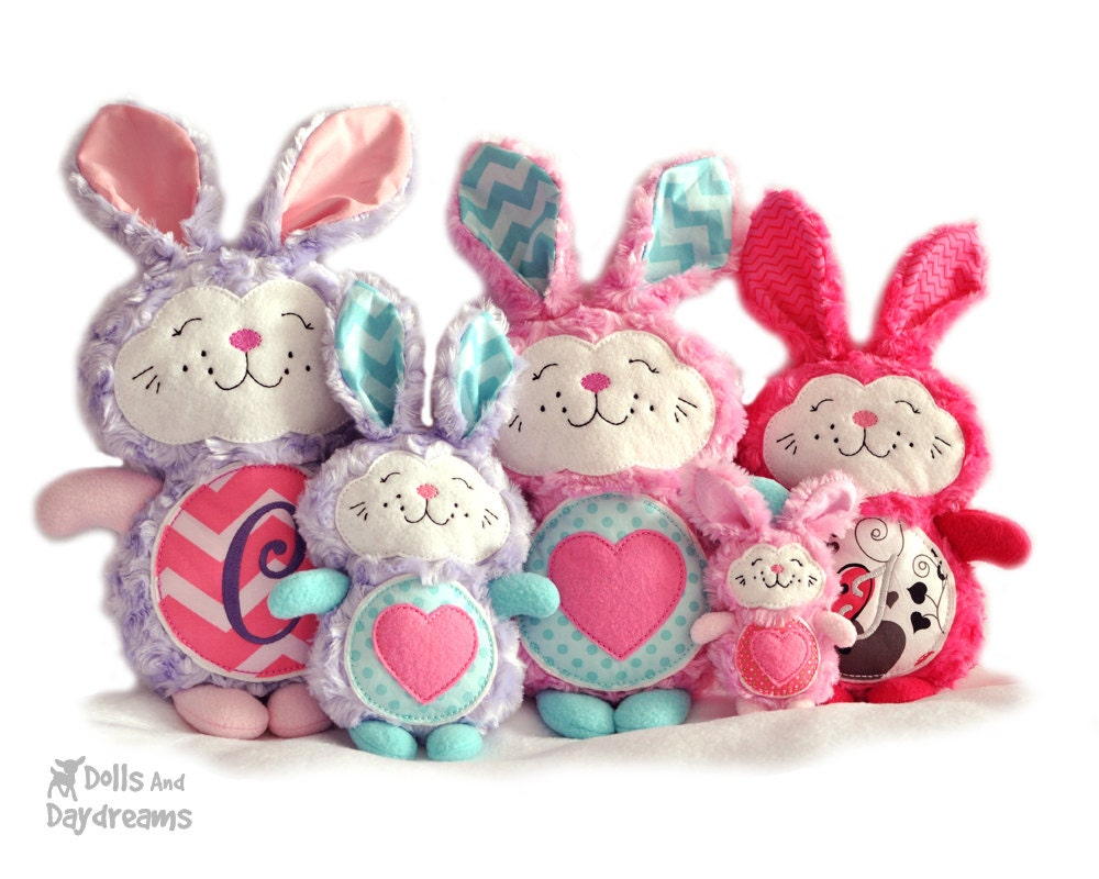 Bunny rabbit embroidery machine ith pattern easter softie