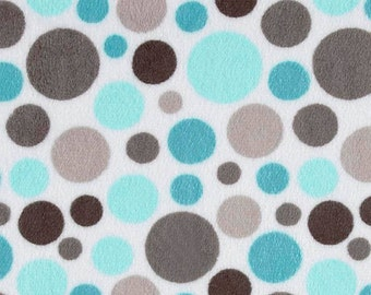 Bubble Dot , Topaz and Charcoal Minky, minky by the yard