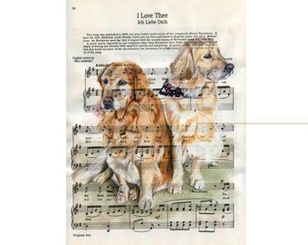 Custom Portrait of your Two Pets - on Sheet Music -  Painted by artist Julia Braun Raven - sizes from 8x11in