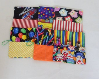 6 Crayon Roll Ups , Party Favors for Boys