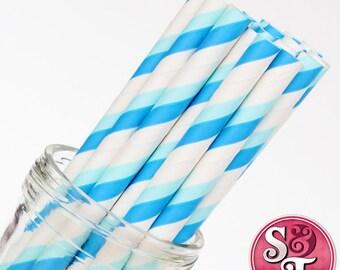 Stripe Blue/Light Blue Party Paper Straws - Cake Pop Sticks - Pixie Sticks - Qty 25