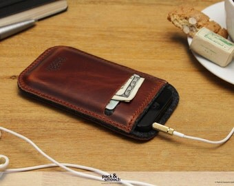 iPhone 5s iPhone 5c wallet case, iphone 5 cover, 100% wool felt, vegetable tanned leather -LEICESTER- LE-5-ALB