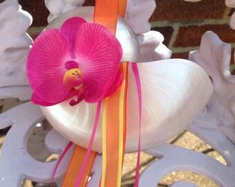 Pearl Nautilus Shell Flower Girl Basket, Beach Flower Girl
