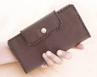 SALE, Hand Stitched Leather Bi Fold Wallet in Dark Brown