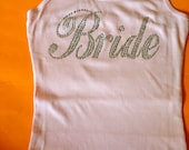 Plus Size Bride Shirt. Lace Back Bride Tank Top. Bride To Be Gift. Bridal Shower Gift. Bride rhinestone Tank Top. Bride to be Bling tank.