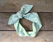 teal and cream damask headscarf, boho, tie up headband adjustable, summer and fall fashion, knotted headband