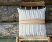 """blue and cream ticking throw pillow cover / 18"""" x 18""""  / reversible / rustic home decor / cottage chic / jute webbing / nautical /fall decor"""