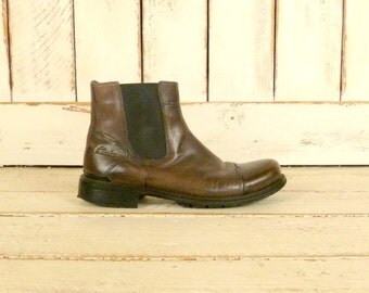 Mens dark brown leather zipper ankle boots/Clarks boots/10.5