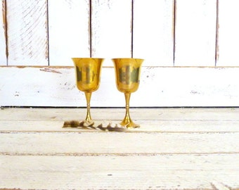 Vintage distressed brass metal wine goblets/decorative metal drinking stemware cups/set of 2