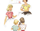 1950s Girl's Set of Blouses/ Girl's Vntage McCalls 50s Blouse Sewing Pattern 9207/ Size 6