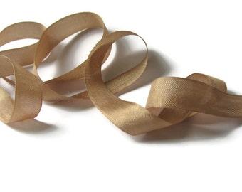 """Fig Beige Seam Binding Ribbon - Vintage Original Hug Snug - 3 / 6 / 12 Yards - Kraft Brown - Packaging - Gift Wrap - 1/2"""" Rayon Trim - Craft"""