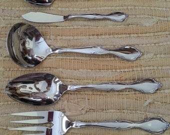 Vintage Set of Five SSS by Oneida Stainless Steel Serving Set Meat Fork Ladle Sugar Spoon Butter Knife and Serrated Spoon