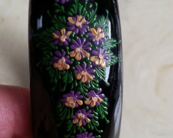 Vintage Wooden Bangle Bracelet Painted Black with Hand Painted Purple and Pale Peach Flowers and Green Leaves